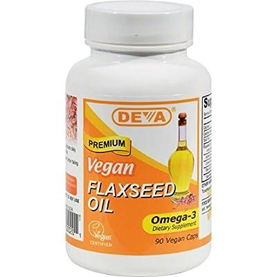 DEVA Vegan/Vegetarian Organic FLAXSEED OIL Omega 3 - 90 Capsules