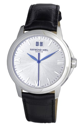 Raymond Weil Men's Quartz Watch with Silver Dial Analogue Display and Black Leather Strap 5476-ST-00657
