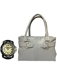 Arc HnH Women HandBag + Watch Combo - Buckle Grey Handbag + Sporty Black Watch