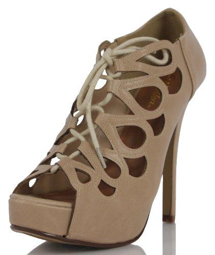 Paprika Women'S Karmix Faux Leather Cut Out Lace Up High Heel Pumps, Black, 6 M Us