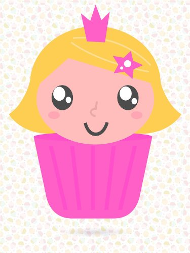 Nursery Cupcake Girl Princess Pink Crown Kids Bedroom Art 12 X 16 Inch Poster Mp4252B