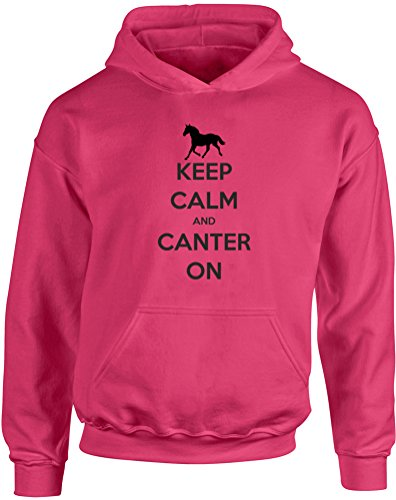 Keep Calm And Canter On , Kids Printed Hoodie - Hot Pink/Black 9-11 Years