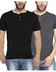 ADRO Cotton Half Sleeve Henley T Shirts For Men (Combo Pack Of 2)