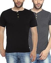 Adro Men's Cotton Henley T-Shirt (Combo pack of 2)