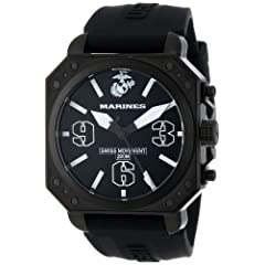 USMC Wrist Armor Men's WA142 C4 Stainless Steel Analog Display Swiss Quartz Watch with Black Silicone Strap