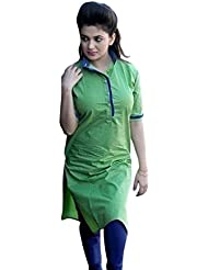 Alethia Enterprise Green & Blue Color Cotton Printed Semi-Stitched Kurti-ALH473KIC2006CN