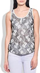 Addyvero Casual, Sports, Party Sleeveless Embellished Women's Grey Top