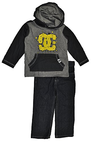 Dc Shoes Toddler Boys Gray Hooded Top 2Pc Denim Pant Set (4T) front-876597