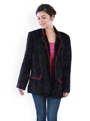 Uptown Women's Velvet Blazer (SONA2622C-1XL _XX-Large_Black)  available at amazon for Rs.899
