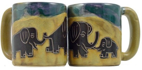 One (1) Mara Stoneware Collection - 16 Ounce Coffee Cup Collectible Mug - Elephant Design front-246654