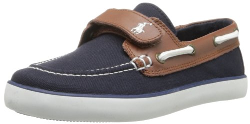 Polo Ralph Lauren Kids Sander-Cl Ez Sneaker (Toddler/Little Kid),Navy/Tan,11 M Us Little Kid