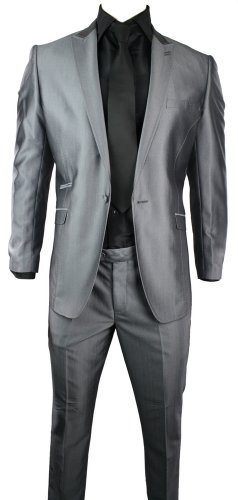 Mens Slim Fit Suit Silver Grey Shiny 1 Button Stitch Design Work Party Wedding Suit UK