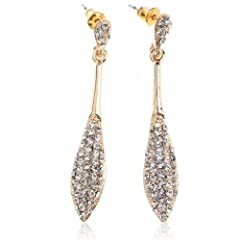 Buy Fashionable Shining Baseball Bat Shape Ear Studs with Rhinestones Silver & Gold... by preciastore