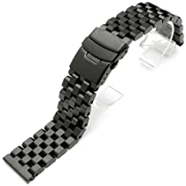 25mm Super Engineer II Solid Stainless Steel Watch Band Push Button PVD Black
