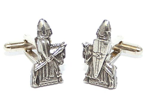 Solid Pewter Lewis Chessmen (Viking) Knight Chess Piece Cufflinks With Gift Box