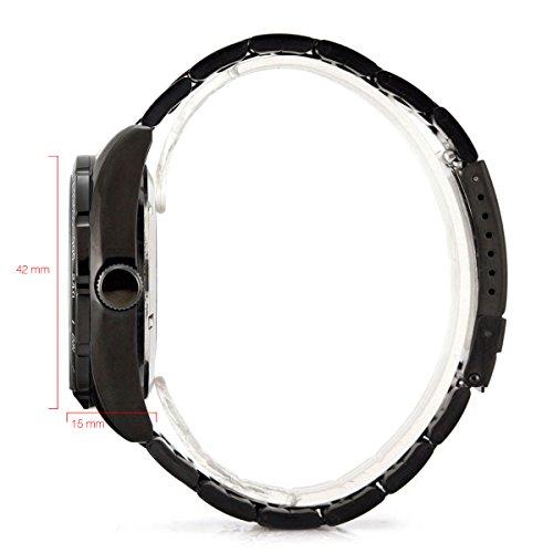 Alienwork IK mechanische Automatik Armbanduhr Skelett Automatikuhr Uhr schwarz Edelstahl 98226G-A 8