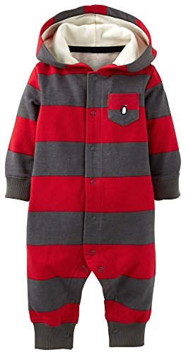 Carters Baby Boys Penguin Snap Up Hooded Jumpsuit Newborn Red/Grey front-159472