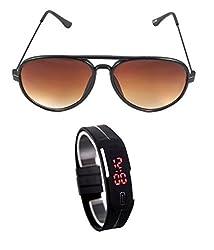 MagJons Brown Yuva Aviator Sunglasses With Digital Slim Watch