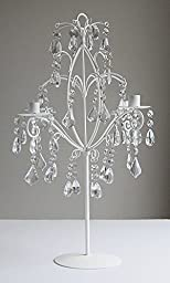 Shabby Chic Antique White Candelabra with Acrylic Crystal Beads - 24 Inch