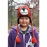 Kids Size Tiger 100% Wool Pilot Animal Ski Cap / Hat With Fleece Lined