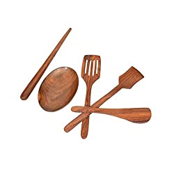 Onlineshoppee Wooden Handmade Serving and Cooking Spoon Set Pack of 5