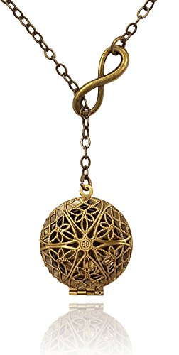 Aromatherapy-Necklace-Essential-Oil-Diffuser-Locket-Pendant-Jewelry-Bronze-tone-Brass-tone-Eternity-Infinity-Lariat-Y-Style-wreusable-felt-pads