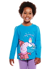 Pure Cotton Peppa Pig & Snowman T-Shirt