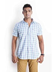 Sting Blue Checks Slim Fit Casual Shirt - B00NQQH4LI