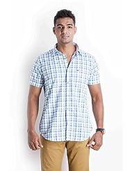 Sting Blue Checks Slim Fit Casual Shirt - B00NQQH4LI