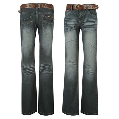 Lee Cooper Belted Bootcut Jeans Ladies Dk Wash