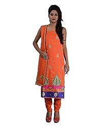 Mumtaz Sons Women's Cotton Unstitched Dress Material (MS111414C,Orange)