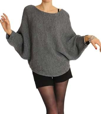 n.n. pull-over femme, pull-over tricoté pour femme, débardeur femme, pull-over aux manches chauve-souris t34p gris