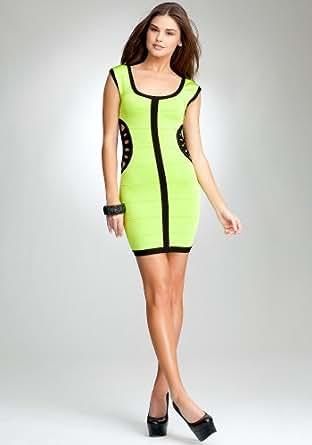 bebe Cutout Detail Bandage Dress -Bebe Addiction The Lab Lime Punch