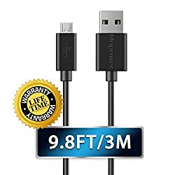 Micro Cable Mopower 9.8ft 3M USB 2.0 A Male to Micro B Charge and Sync Data Cables for Samsung Galaxy HTC Motorola Mobile Phones Tablet Black 2-Pack 1-Pack