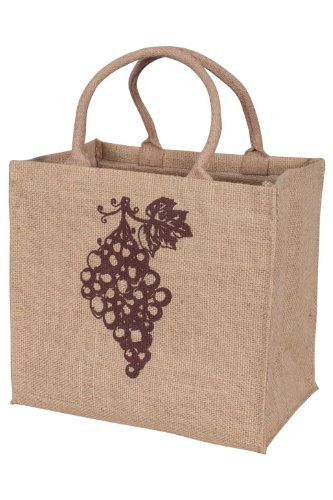 4-Bottle Jute Wine Tote with Grapes Detail