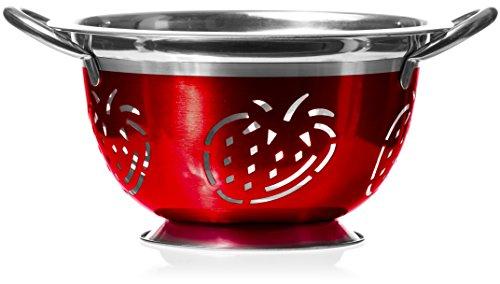 3 Quart Red Stainless Steel Colander - Cute Durable Strawberry Kitchen Strainer (Strawberry Kitchen compare prices)