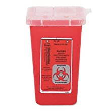 "Impact 7350 Translucent Red Sharps Container, 1 qt Capacity, 4-1/2"" Length x 4-1/2"" Width x 6-3/4"" Height"