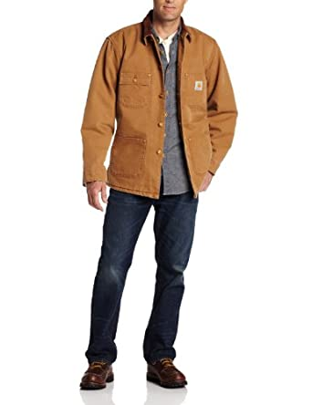 Carhartt Men's Weathered Duck Chore Coat, Brown, Small