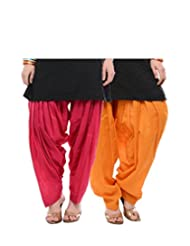 NGT Orange And Rani Pink Pure Cotton Patialas For Womens