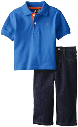 Nautica Baby-Boys Infant 2 Piece Short Sleeve Solid Polo Denim Set, Blue Jean, 12 Months