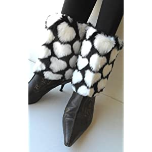 Faux Furry Leg Warmer Cuff Muff Boot Cover with Black & White Hearts 7″ Cuff