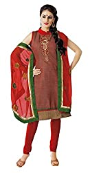 Charu Boutique Women's Cotton Un-Stitched Dress Material (Red_Free Size)