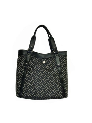 Women&#8217;s Tommy Hilfiger Sizable Tote Handbag (Black Substantial Logol)