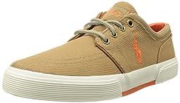 Polo Ralph Lauren Men\'s Faxon Low Rubber Fashion Sneaker, Khaki, 12 D US,Khaki,12 D US