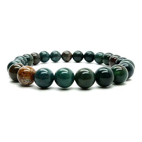 Bloodstone Bracelet 20 Stretch 7mm Green Red Round Stone Crystal Healing