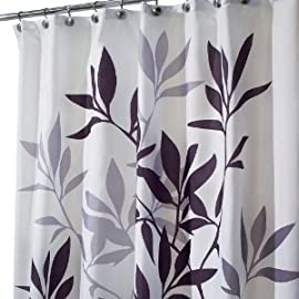 Interdesign Leaves Shower Curtain - Black/Gray