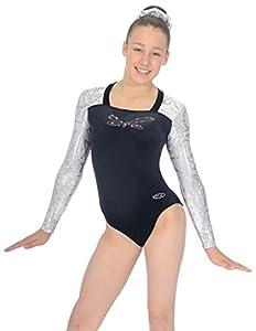 """The Zone Z327 Belle justaucorps de gymnastique à manches longues en velours lisse avec motif noeud, argent, taille 28"""""""