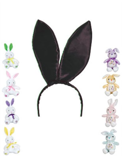 "New 9.5"" Black Satin Easter Bunny Rabbit Costume Ears"