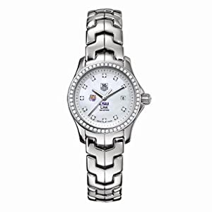 Louisiana State University Women's TAG Heuer Link Watch with Mother of Pearl Diamond Dial and Diamond Bezel