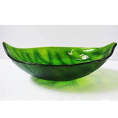 Green Leaf Shape Tempered Glass Vessel Sink with Pop - Up Drain and Mounting Ring